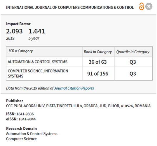 International Journal of Computers Communications & Control